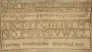 Victorian needlework alphabet sampler worked in coloured threads with cross stitches and eyelet