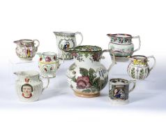 Group of pottery jugs and a frog mug inscribed 'William Wales 1809' 19th Century, including a