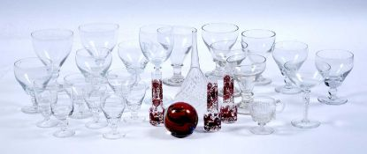 A group of Georgian and later glass comprising of rummers, funnels, red overlaid glass and a Michael