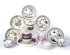 Group of European porcelain including a Berlin pot and cover painted with chickens, 8.5cm high, a