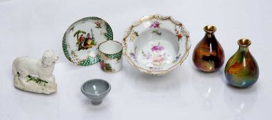 Collection of ceramics to include: porcelain small dish with handpainted flowers marked 'Dresden' to