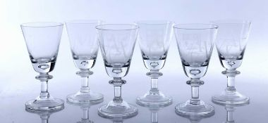 Bryant Fedden (b. 1930) three engraved glass goblets, 19cm high, two further similar engraved