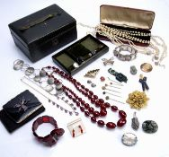 Collection of jewellery to include simulated pearls, Victorian necklace with purple faceted stone