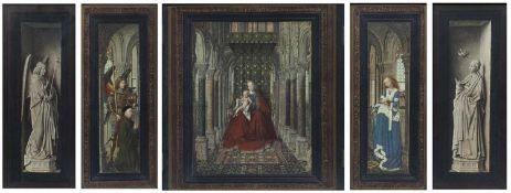 After Jan van Eyck (1380-1441) The Dresden triptych, print in an ebonised frame,115cm x