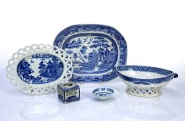 Group of Staffordshire and other transfer-printed ceramics to include a fruit basket and stand,