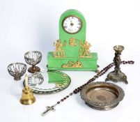 Group of objects to include a French painted clock, a bronze candle stick with stylized elephant