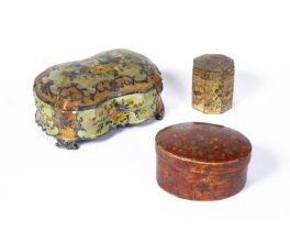 Three lacquer and painted boxes Venetian and Indian, 18th/19th Century, including a painted