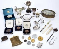 Collection of white metal and silver-plated ware to include: Continental white metal spoons,
