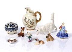 Collection of ceramics to include: Royal Worcester blush ivory jug, Royal Worcester figures, Beswick
