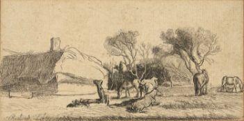 After Rembrandt Van Rijn (1606-1669) monochrome engraving of horses grazing, 7cm x 15cm Condition