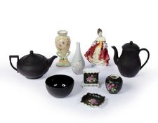 Group of English ceramics to include a three piece Wedgwood basalt teaset, a Royal Worcester vase