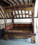 Jiazichuang style canopy bed Chinese, with polychrome and gilt painted decoration with decorative