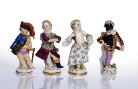 Collection of four Meissen figures all four with blue crossed marks (one very faded), tallest 8.