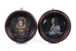 Pair of portrait wax miniatures 'Queen Elizabeth' and 'Charles the First' in original frames, 15.5cm
