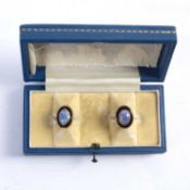 Pair of opal earrings on yellow precious metal mounts, unmarked, 5g approx overallCondition
