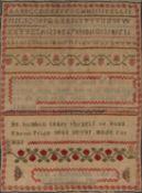 American needlework alphabet sampler worked in coloured threads, by Jan Richardson, aged 11,