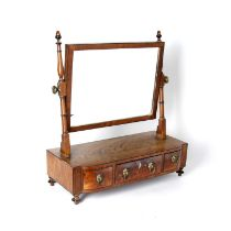 Mahogany dressing table mirror 19th Century, with bow front having brass lion mask ring handles,