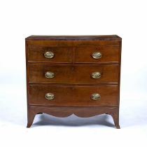 Mahogany and crossbanded bow front chest of drawers 19th Century, with oval brass-drop handles, 94cm