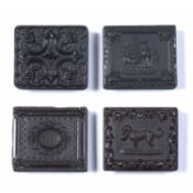 Four union cases comprising of Mary & her little Lamb, ninth plate thermoplastic case, made by
