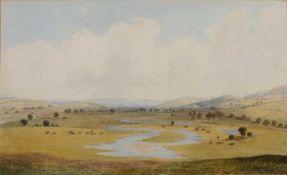 19th Century English School 'Untitled pastoral landscape' watercolour, unsigned, 34cm x 56cm