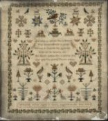 19th Century needlework sampler by Elizabeth Carter, August 1838, worked in coloured threads,
