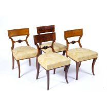 Set of four Viennese satin birch chairs Austrian, 19th Century, each with a carved roundel to the