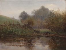 Benjamin Haughton (1865-1924) 'A Grey Day' oil on panel, signed lower right, 30cm x 39.