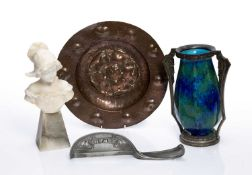 Group of Art Nouveau pieces to include a copper bowl with Yorkshire rose embossed to the centre 27.