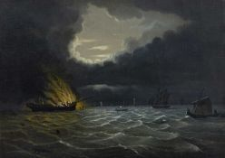 19th Century English School A frigate on fire with attendant vessels in moonlight, oil on canvas,