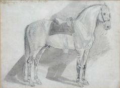 English School Study of 'Hector' belonging to Sir Sidney Meadows, pencil and wash, with hand written
