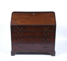 Mahogany bureau George III with fitted interior and inlaid fall front and with drawers below,
