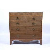 Mahogany chest of drawers 19th Century, with inlaid and crossbanded top, 107cm wide, 48cm deep,