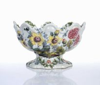 Faience Monteith, Nove (Bassano) Italian circa 1830, painted with flowers around the exterior and