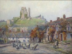 Arthur E. Toope (1884-1954) 'View of Corfe Castle, Dorset, with shepherd driving sheep' oil on