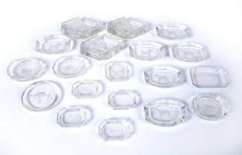 Collection of Val St Lambert glass dishes and ashtrays with various designs including Pekinese,