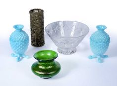 Group of glass including a green Loetz type bowl, 9.5cm high, a pair of blue 'pineapple shaped'