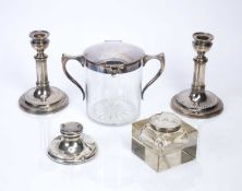 Glass and silver topped square inkwell 9cm across, a further inkwell 10cm, a pair of plated