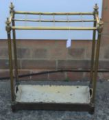 Victorian brass stick stand with twelve dividers and set-in drip tray at the bottom 62.5cm high x