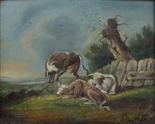 Albert Flamen 1648-1664 Pencil and wash scene 17cm x 31cm, After Albert Cuyp Cattle oil on board