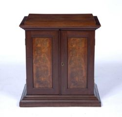 Mahogany collector's cabinet Victorian, complete with an eclectic collection of items the top drawer