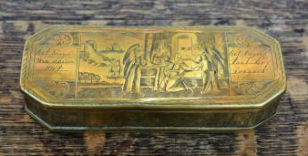 Dutch snuff box 18th Century, brass decorated with religious scenes, 15cm across,Condition report: