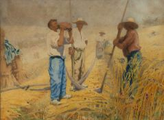 William Brock (South African 1878-1945) Resting during haymaking, watercolour, signed, 26cm x