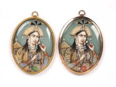 Pair of portrait miniatures Indian, 19th Century purportedly depicting Mumtaz Mahal, each of oval