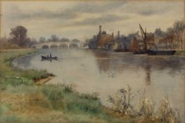 Edith Fisher (1885-1936) 'Untitled Kingston-Upon-Thames' watercolour, signed lower left, 26cm x