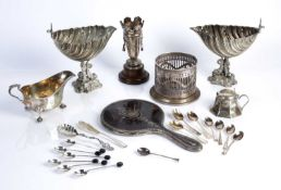 Collection of silver and silver plated ware to include: silver sauce boat, plated shell shaped