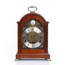 Mahogany mantel clock with striking and chiming movement, marked Tempus Fugit, 33cm high excluding