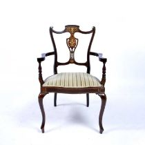 Mahogany and bone inlaid open armchair Edwardian, with inlaid cornucopia to the back, 59cm wide,