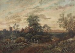 Octavius Thomas Clark (1850-1921) Rustic cottage and stream, and companion study, oil on canvas,