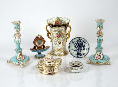 Group of English and Continental ceramics comprising of a Meissen ink pot with blue crossed swords