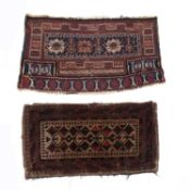 Two tribal bag facesto include Turkoman type bag face with a blue central panel and three